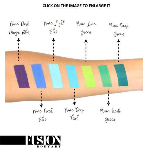 Fusion Body Art Prime Lime Green es realmente un color único que ninguna otra marca puede igualar. Con una mezcla de tonos azul perla y verde, este color es perfecto para diseños inspirados en pavos reales, Mardi Gras e incluso diseños de sirenas.  Las posibilidades son infinitas con Fusion Body Art Lime Green, ya que cambia de color según la forma en que la luz lo toque, este es un verdadero color de pintura facial de doble tono. Aplique en capas finas para evitar movimientos súper gruesos que podrían agrietarse cuando se secan. Los Fusion Body Art Face Paints son excelentes para los pintores y cosplayers profesionales, así como para los artistas principiantes y padres que necesitan un producto de pintura facial de alta calidad pero a precio accesible para una fiesta o simplemente por diversión. Face Paint - Prime Lime Green