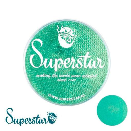 """Superstar Golden Green Shimmer Superstar es una pintura de cara suave y cremosa altamente pigmentada. Se mezclan fácilmente, se secan en 30 segundos sobre la piel y se secan hasta obtener una cobertura sin manchas. Si quieres convertirte en un profesional, puedes obtener Superstar <span style=""""font-size: 80%;"""">Flash Green </span><span style=""""font-size: 80%;"""">en el contenedor de 45 gramos.</span> Superstar Golden Green Shimmer"""