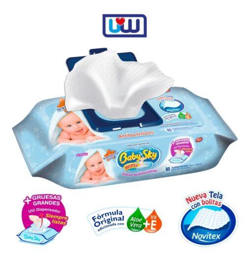 """baby sky <h1>Toallitas Húmedas Baby Sky</h1> + Con Aloe y Vit. E humectan y suavizan la piel de tu pequeño. + Paquetes con práctica tapita plástica que facilitan su uso. + Ideales para carita, pompis y cuerpo. + Delicioso aroma. + Textura de tela Acolchonada. + Hipoalergénicas + Antibacteriales Toallitas Húmedas Baby Sky ESPECIFICACIONES Tamaño de Tela: 15 x 18cm Toallitas por paquete: 80 toallitas. Paquetes por caja: 24 paquetes. Toallitas por caja: 1920 toallitas. Dimensiones de caja: 21cm altura, 30cm fondo, 22cm frente. Peso de caja: 4.8kg aprox. Consume lo hecho en México <strong>PRECIO ESPECIAL A MAYORISTAS</strong> <a href=""""mailto:mayoreo@comprastodo.com""""><strong>mayoreo@comprastodo.com</strong></a> Toallitas Húmedas Baby Sky, Caja 24Pz"""