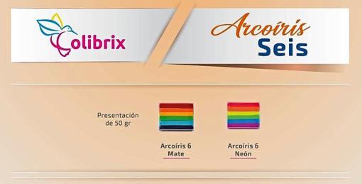 colibrix ARCOIRIS MATE Colibrix <ul> <li>Negro</li> <li>Azul Cielo</li> <li>Verde Bandera</li> <li>Amarillo Mango</li> <li>Naranja</li> <li>Ladrillo</li> </ul> Arcoiris 6 colores Mate Colibrix 50g