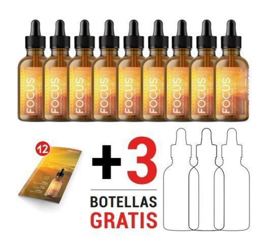 """pmb focus <h1 class=""""mb24 trn"""" data-trn-key=""""FOCUS_106"""">PMB FOCUS</h1> <h1 class=""""mb24 trn"""" data-trn-key=""""FOCUS_106"""">Extracto de cáñamo para Mente y Cuerpo</h1> Al comprar este paquete recibirás: <strong>• 9 Botellas de FOCUS de 50 ml.</strong> <strong>• 3 Botellas de FOCUS de 50 ml. GRATIS</strong> • 12 postales de FOCUS GRATIS Estimulando el bienestar total del cuerpo, FOCUS ofrece un amplio espectro de siete terpenos activos y múltiples Fito cannabinoides, reafirmado por los beneficios terapéuticos del CBG (Cannabigerol). Utilizando tecnología de suministro propia llamada Nano-Tecnología Sonicada ™, cada gota de FOCUS se formula para la absorción rápida que promueve la acción rápida con beneficios terapéuticos de larga duración para la mente y cuerpo. ESENCIALES PMB FOCUS x12"""