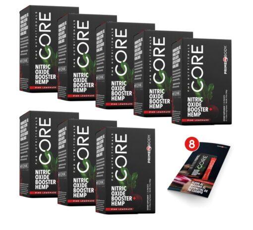 """CORE 8 PACK CORE 8 PACK Al comprar este paquete recibirás: • 8 cajas de CORE (con 25 sobres c/u) • 8 postales de CORE GRATIS <ul> <li class=""""mb24 mt16 pmb-next trn"""" data-trn-key=""""CORE_016"""">RENUEVA TU DESEO SEXUAL</li> <li class=""""mb16 mt16 pmb-next trn"""" data-trn-key=""""CORE_025"""">MEJORA LA POTENCIA DEL CEREBRO</li> <li class=""""mb16 mt16 pmb-next trn"""" data-trn-key=""""CORE_022"""">DESARROLLO Y RECUPERACIÓN MUSCULAR</li> <li class=""""mt16 mb16 pmb-next trn"""" data-trn-key=""""CORE_010"""">MINIMIZA EL ESTRES</li> <li class=""""mt16 mb16 pmb-next trn"""" data-trn-key=""""CORE_010"""">MAXIMIZA TU FLUJO SANGUINEO</li> </ul> consiente a tu cuerpo con una mezcla efectiva de nutrientes que intensifican la producción de óxido nítrico. Elevando su producción de óxido nítrico, podrá revitalizarse, sentirse más joven, recuperarse más rápido y disfrutar de un mejor estilo de vida, aumentando su energía de forma natural. PrimeMyBody es la única empresa que combina el extraordinario poder del óxido nítrico con el CBD para ayudar a mejorar el órgano más importante para vivir, el corazón. CORE 8 Pack"""